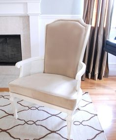 camel velvet chair redo! Dang it looked so ugly before. Such a good remodel!