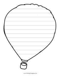 A floating hot air balloon is covered in penmanship lines for writing practice on this printable paper.