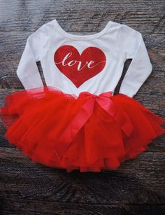 7a020dff48 Heart Full of Love Dress Outfit with white top and red tutu Customizable red  glitter heart