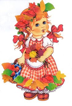 Fall Crafts, Diy And Crafts, Crafts For Kids, Little Girl Illustrations, School Painting, Autumn Illustration, Autumn Activities For Kids, Fairy Princesses, Cute Dolls