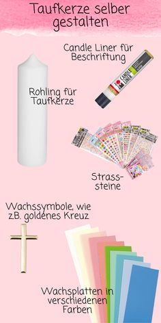 Materials to make the christening candle yourself - Do you want to make the christening candle for your godchild yourself and are you still looking for - Quotes Deep Feelings, Godchild, Life Lesson Quotes, Hacks Videos, Free Games, Christening, Most Beautiful Pictures, Life Hacks, Presents
