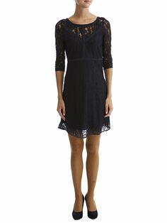 FINIRA - LACE - 3/4 SLEEVED DRESS, Black