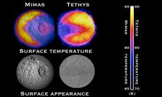 """Scientists with NASA's Cassini mission have spotted two features shaped like the 1980s video game icon """"Pac-Man"""" on moons of Saturn. One was observed on the moon Mimas in 2010 and the latest was observed on the moon Tethys. Image credit: NASA/JPL-Caltech/GSFC/SWRI"""
