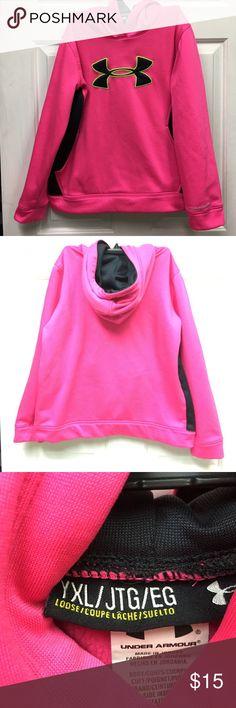 Under Armour Hooded Sweatshirt Pink Under Armour Hooded Sweatshirt with Black Logo. Size XL in excellent condition Under Armour Shirts & Tops Sweatshirts & Hoodies