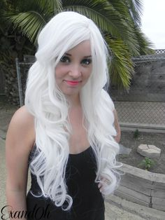 Ice White / Long Curly Layered Wig Mermaid Hair with Natural Scalp Piece Durable for Daily Use, Halloween Costumes Curly Hair Care, Long Curly Hair, Curly Hair Styles, Natural Hair Styles, Long Curly Layers, Long Layered, Dying Your Hair, Natural Hair Mask, Maquillage Halloween
