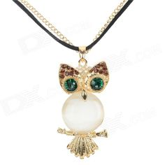 Women's Fashion Owl Style Rhinestone Inlaid Zinc Alloy Necklace - White + Golden + Multi-Color#http://www.madeinchina.com/pd/women-s-fashion-owl-style-rhinestone-inlaid-zinc-alloy-necklace-white-golden-multi-color-99365545#.Ve-q10ZTHrc