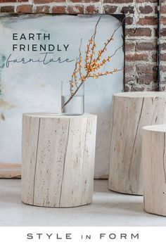 """We can't get enough of these gorgeous stumps. Made from solid, upcycled salvaged Spruce and Pine from our home province of British Columbia, these must-have natural accessories are available in 16"""", 18"""" Mid Century Modern Living Room, Mid Century Modern Design, Mid Century Modern Furniture, Bohemian Interior, Modern Interior Design, Interior Design Living Room, Natural Accessories, Home Decor Accessories, Sustainable Furniture"""