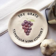 Ceramic Garlic Plate  Grater Plate  Unique by TheBabyHandprintCo