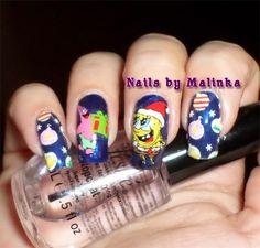 Nails by Malinka: Christmas Spongebob