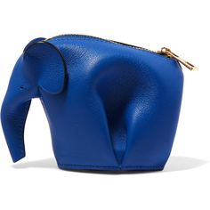 Loewe Elephant leather coin purse ($305) ❤ liked on Polyvore featuring bags, wallets, royal blue, leather coin pouch, zipper coin purse, leather coin purse, zipper change purse and leather zip wallet