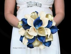 Beige, Navy and Gold Calla Lily Wedding Bouquet, fake silk real touch bridal bouquet for a wedding with a marine blue and navy blue and gold theme wedding gold glitter