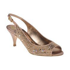 A lavish glittering open toe sling back encrusted with Swarovski 'Light Topaz' diamante in luxurious flesh silk satin on a 65mm kitten heel.