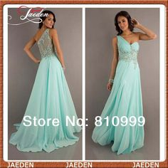 HE006 Free Shipping Sexy One Shoulder Chiffon Prom Dress Beaded Bodice Long Party Senior Dress Evening Dresses 2014 Custom $98.00