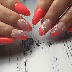 Em Nails, Pink Nails, Cute Nails, Pretty Nails, Orange Nail Art, Orange Nails, Easter Nail Designs, Gel Nail Designs, Pearl Nails