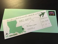 New Orleans bachelorette party boarding pass invites created from Pinterest inspiration.