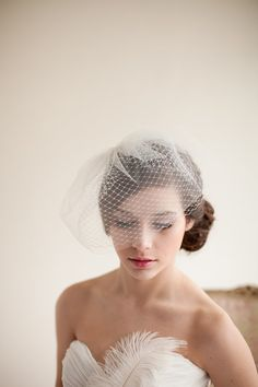 Double Layer Birdcage Veil, Blusher Veil, Tulle Veil, Wedding Veil, Mini Veil - Jane MADE TO ORDER