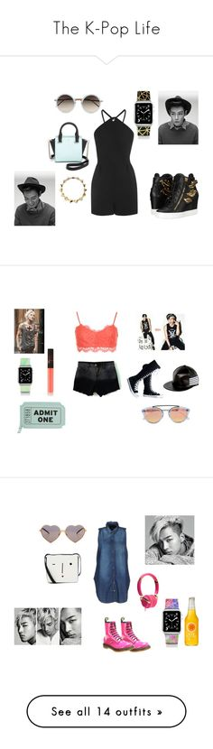 """""""The K-Pop Life"""" by dolly-demx ❤ liked on Polyvore featuring Topshop, Linda Farrow, Kate Spade, Noir, Giuseppe Zanotti, Casetify, bigbang, date, top and WearAll"""