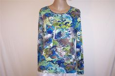 CHICO'S ADDITIONS Sz 1 Shirt Top Colorful Long Sleeves Stretch  S 8/10 Casual #Chicos #KnitTop #Casual