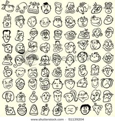 People faces, doodle cartoon