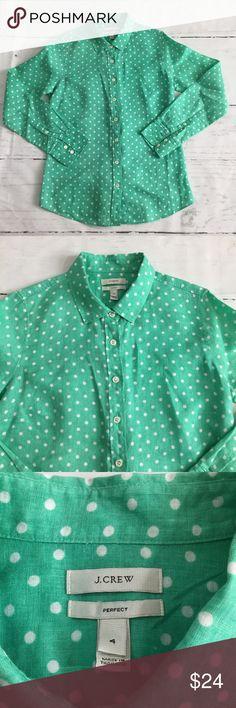 J.Crew Perfect Shirt Button Down 100% Linen • J.Crew Perfect Shirt Button Down Mint green Polka Dots  • 100% Linen  • Size 4 - bust 37, length 26.5, sleeve 25 • Nonsmoking home J. Crew Tops Button Down Shirts