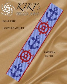 Pattern, loom pattern, Boat trip nautical style LOOM bracelet pattern in PDF - with anchor and steering wheel motifs - instant download