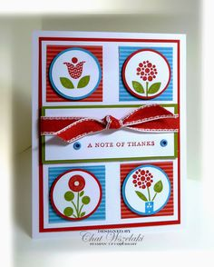 Stampin Up, Bright Blossoms stamp set, red & blue