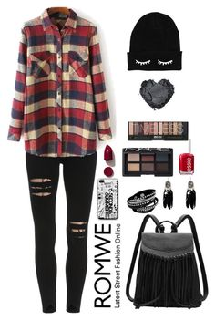 """""""Romwe 8"""" by amra-f ❤ liked on Polyvore featuring Essie, NARS Cosmetics, women's clothing, women's fashion, women, female, woman, misses, juniors and black"""