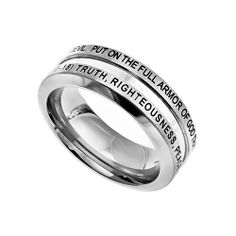 """Christian Mens Stainless Steel Abstinence Ephesians 6:10-18 """"Put On The Full Armor Of God That You May Be Able To Stand Firm Against The Schemes Of The Devil. Truth, Righteousness, Peace, Faith, Salvation, The Word, Prayer"""" Chastity Industrial Band Ring for Boys - Guys Purity Ring - Comfort Fit Ring Spirit & Truth. $23.99"""