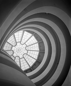 """Ezra Stoller, Inside View of Guggenheim Museum designed by Frank Lloyd Wright, New York, 1959 "" Museum Architecture, Classical Architecture, Art And Architecture, Organic Architecture, Moma, Architectural Photographers, Frank Lloyd Wright, Design Museum, Art Museum"