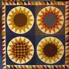 Sunflower, also known as Kansas Sunflower, a variation of Mariner's Compass.