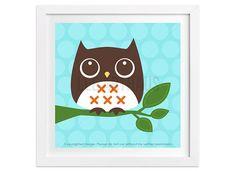 16 Owl Wall Art  Owl Sitting on Branch Wall Art  by leearthaus