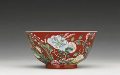 A FINE AND RARE CORAL-GROUND FAMILLE ROSE FLORAL BOWL YONGZHENG MARK AND PERIOD Clients who wish to bid on Premium Lots must submit their pre-registration application in advance Porcelain Ceramics, China Porcelain, White Ceramics, Chinese Bowls, Chinese Ceramics, Qing Dynasty, Antique Items, Chinoiserie, Japanese Art