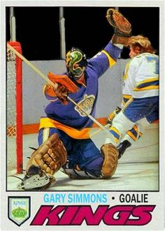 Hockey Goalie, Hockey Players, Ice Hockey, Gary Simmons, Hockey Cards, Baseball Cards, Kings Hockey, Goalie Mask, Cool Masks