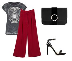 Palazzo de día, palazzo de noche. Night outfit: band t-shirt+red palazzo pants+black ankle strap heeled sandals+black clutch. Summer night outfit 20^6