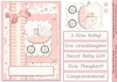 New Granddaughter Daughter Baby Girl in a Pram Topper on Craftsuprint - Add To Basket!