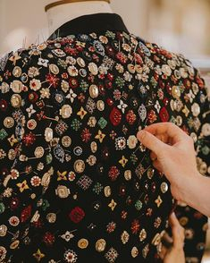 """90e26ac0 Alexander McQueen on Instagram: """"A jewel embroidered jacket inspired by  vintage menswear jacquard motifs. The embroidery creates a three  dimensional jewel ..."""