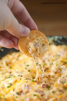 Hot Ham and Cheese Dip ~ This Melty, Cheesy Dip is Loaded with Ham, Caramelized Onions, Butter, Cream Cheese, Swiss Cheese, Cheddar Cheese, Provolone Cheese, and Chives