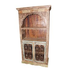 Antique Indian Hand Carving Arch Bookcase For Sale Bookcases For Sale, Bookshelves, Antique Bookcase, Grand Homes, Iron Doors, New Room, Hand Carved, Arch, Carving
