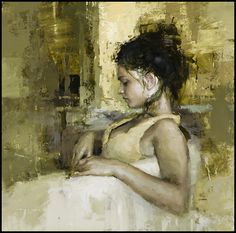 """""""Portrait of Angela"""" - Oil on Panel - 15 x 15 in. - The Principle Gallery Jeremy…"""