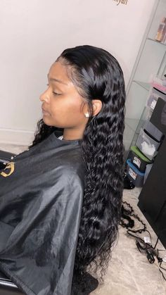 Brazilian Virgin Human Hair Full Lace Wigs Deep Wave With Baby Hair - Black Girl Hair Styles Black Girls Hairstyles, Wig Hairstyles, Straight Hairstyles, Summer Hairstyles, Curly Haircuts, Hairstyles For Black Hair, Wavy Weave Hairstyles, Crazy Hairstyles, 1950s Hairstyles