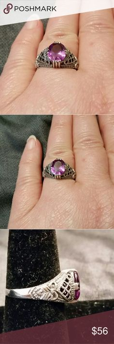 925 2CT Alexandrite Victorian Reproduction Ring 8 Part of a collection of rings made from the original period molds for true authenti-city. The detail on these is amazing and all are Sterling Silver. This Ring contains a color changing Alexandrite, that shifts from pink to a purplish pink depending on the light. Check out the detail on the sides, with the woven look and tied bow. It reminds me of the hair coverings ladies wore in the Elizabethan period. Absolutely gorgeous. ☆☆☆☆RINGS RUN…