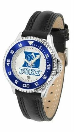 Duke Blue Devils NCAA Womens Leather Wrist Watch by SunTime. $72.95. Showcase the hottest design in watches today! A functional rotating bezel is color-coordinated to compliment your favorite team logo. A durable long-lasting combination nylon/leather strap together with a date calendar round out this best-selling timepiece.