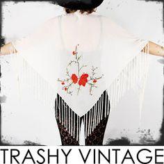 vtg boho gypsy ROSE floral EMBROIDERED draped FRINGE cape wrap shawl jacket OS $38.00