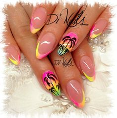 Discover new and inspirational nail art for your short nail designs. Fancy Nails, Cute Nails, Pretty Nails, Short Nail Designs, Nail Art Designs, Nails Design, Neon Nails, My Nails, Palm Tree Nails