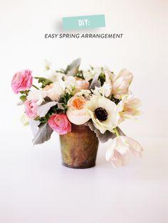 DIY: Easy Floral Arrangement  Read more - http://www.stylemepretty.com/living/2014/02/26/diy-easy-floral-arrangement/