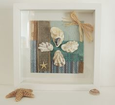 Original Framed shell Picture - Mix media Oyster shell collage within box frame - look lovely hanging in bathroom , summerhouse or beach hut on Etsy, £12.95