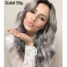 26'' Long Ombre Grey Wig Natural Cheap Hair Wig Best Synthetic Wigs For Black/White Women Long Ombre Wig Cosplay Fake Hair Women