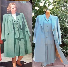 Classic 40s Wedding Suit & Coat. Vintage Sky Blue Wool . Hand Tailored…