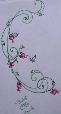 3cc7b0f30724d 20 best Black Flower Vine Butterfly Tattoo images in 2017   Flower ...