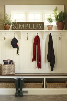 mudroom/entryway (I like this idea. Don't know if there would be a way to incorporate red into this, with the main color being black?)